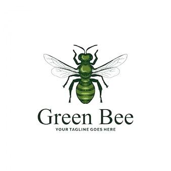 Inspiração de design de logotipo de abelha verde