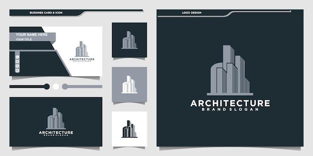 Inspiração de design de logotipo de arquitetura de edifício criativo e design de cartão de visita premium vecto