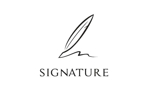 Inspiração de design de logotipo de assinatura de pena