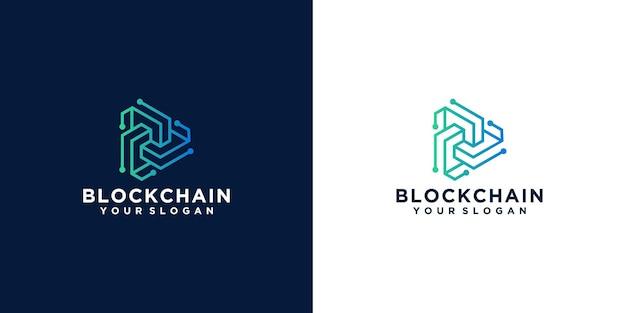 Inspiração de design de logotipo de blockchain geométrico de tecnologia