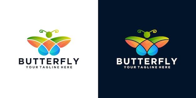 Inspiração de design de logotipo de borboleta colorida e cartão de visita