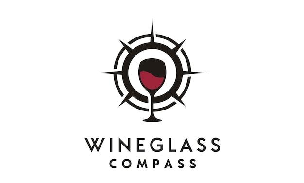 Inspiração de design de logotipo de bússola e copo de vinho