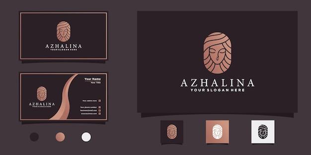 Inspiração de design de logotipo de cabelo feminino com conceito moderno e fresco e design de cartão de visita premium vekto