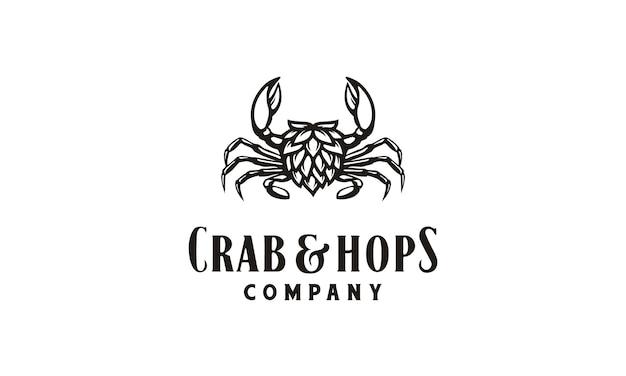 Inspiração de design de logotipo de caranguejo e lúpulo Vetor Premium