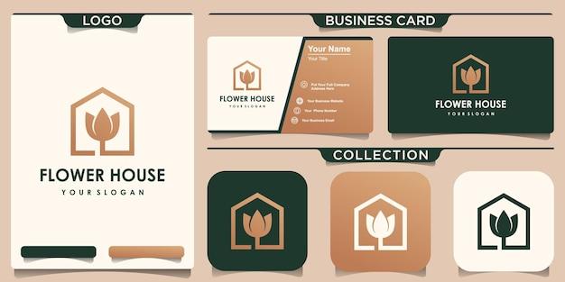 Inspiração de design de logotipo de casa com flor dourada e design de cartão de visita