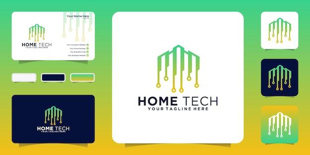 Inspiração de design de logotipo de casa de tecnologia com linhas de conexão e inspiração de cartão de visita