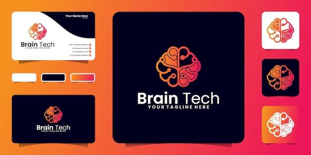Inspiração de design de logotipo de cérebro abstrato de tecnologia e cartão de visita