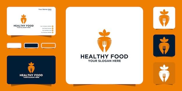 Inspiração de design de logotipo de comida saudável com inspiração de design de cenoura e garfo e cartão de visita