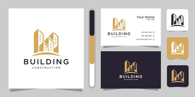 Inspiração de design de logotipo de construção civil e cartão de visita.