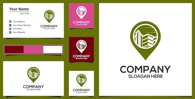 Inspiração de design de logotipo de construção de casa e localização de pino