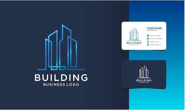 Inspiração de design de logotipo de construção de cidade e cartão de visita.