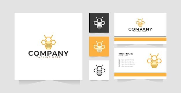 Inspiração de design de logotipo de contorno de abelha hexágono e cartão de visita