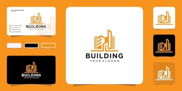 Inspiração de design de logotipo de edifício moderno e inspiração de cartão de visita