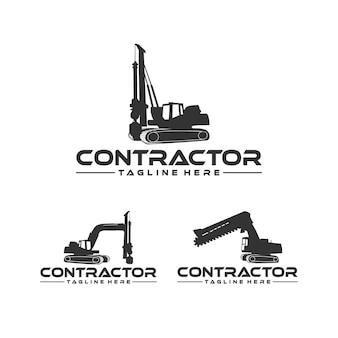 Inspiração de design de logotipo de empreiteiro, escavadeira e escavadeira