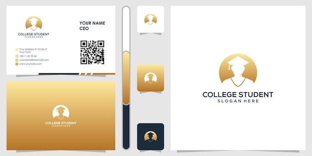 Inspiração de design de logotipo de estudante universitário com cartão de visita