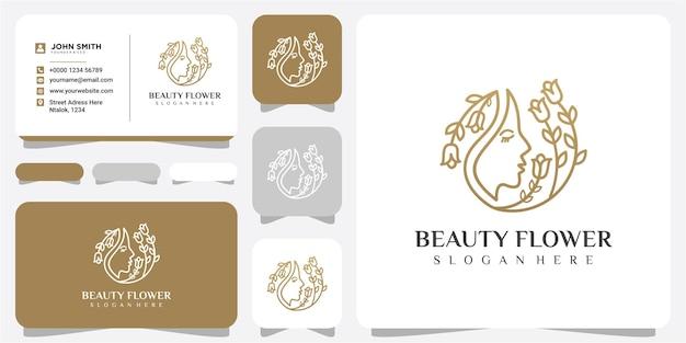 Inspiração de design de logotipo de flor de beleza rosto com cartão de visita. conceito de design de logotipo de flor de rosto