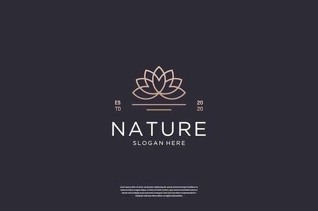 Inspiração de design de logotipo de flor de lótus luxuosa