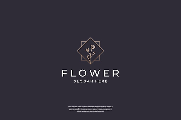 Inspiração de design de logotipo de flor de luxo