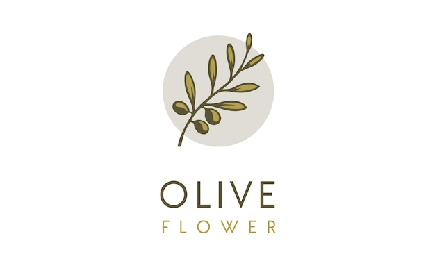 Inspiração de design de logotipo de flor de oliva