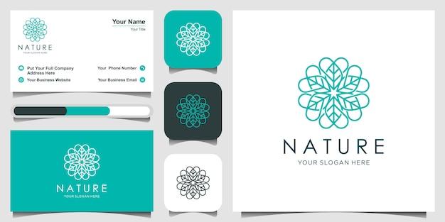 Inspiração de design de logotipo de flor elegante minimalista com estilo de arte linha. cosméticos, spa, salão de beleza decoração boutique logotipo. e cartão de visita