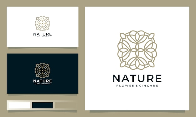Inspiração de design de logotipo de flor minimalista com estilo de arte linha
