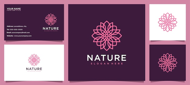 Inspiração de design de logotipo de flores para cuidados com a pele, ioga, cosméticos, salões de beleza e spa, com conceito de linha e cartão de visita