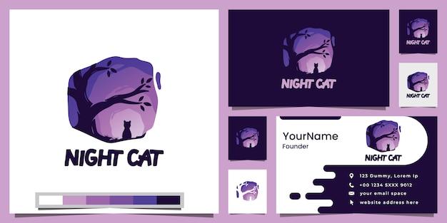 Inspiração de design de logotipo de gato e árvore à noite