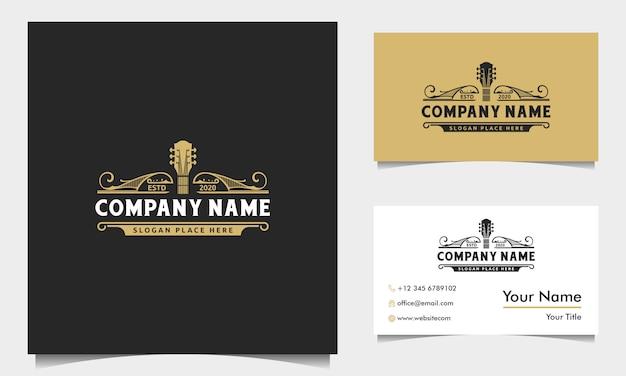 Inspiração de design de logotipo de guitarra de rock clássico