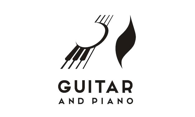 Inspiração de design de logotipo de guitarra piano