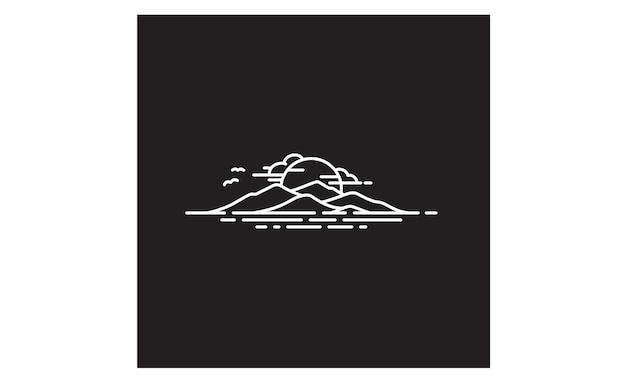Inspiração de design de logotipo de ilha do havaí / montanha e mar