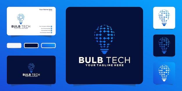Inspiração de design de logotipo de lâmpada digital de tecnologia e cartão de visita