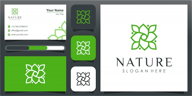 Inspiração de design de logotipo de linha simples flor natural. símbolo para aulas de yoga, produtos naturais, alimentos orgânicos e embalagens, círculos feitos com folhas e flores com linhas simples.