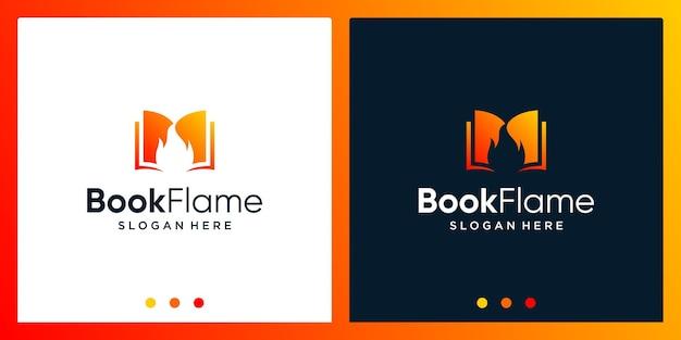 Inspiração de design de logotipo de livro aberto com logotipo de design de fogo. vetor premium