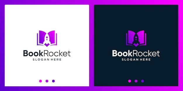 Inspiração de design de logotipo de livro aberto com logotipo de design de foguete. vetor premium