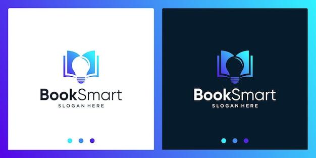 Inspiração de design de logotipo de livro aberto com logotipo de design de lâmpada. vetor premium
