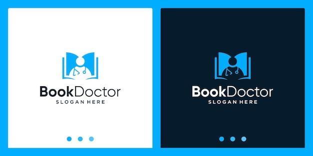 Inspiração de design de logotipo de livro aberto com logotipo de design de médico. vetor premium