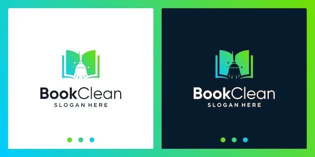 Inspiração de design de logotipo de livro aberto com logotipo de design de vassoura. vetor premium
