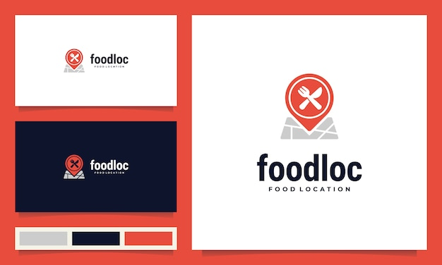 Inspiração de design de logotipo de localização de comida moderna