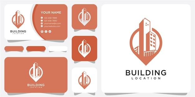 Inspiração de design de logotipo de localização de construção. construindo o conceito de logotipo. modelo de design de logotipo de localização
