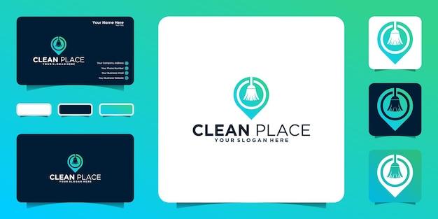 Inspiração de design de logotipo de localização limpa e inspiração de cartão de visita