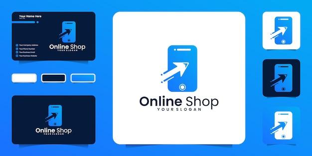 Inspiração de design de logotipo de loja online, compras online e inspiração de cartão de visita