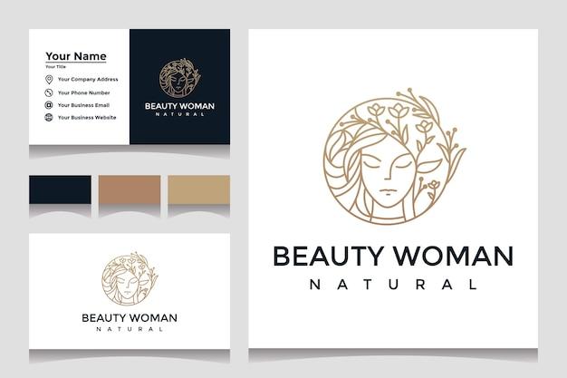 Inspiração de design de logotipo de mulher de beleza com cartão de visita para cuidados com a pele, salão com combinação de folhas