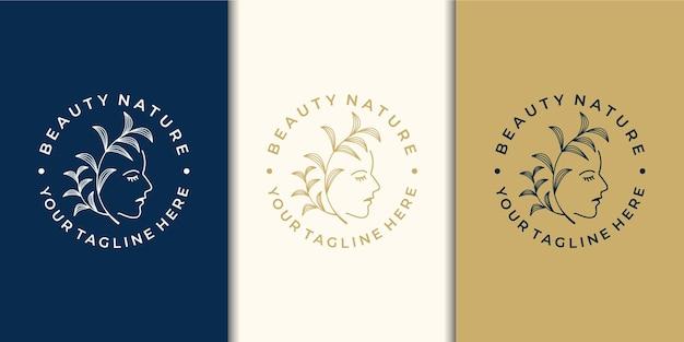 Inspiração de design de logotipo de mulheres de beleza com a natureza e o cartão de visita.
