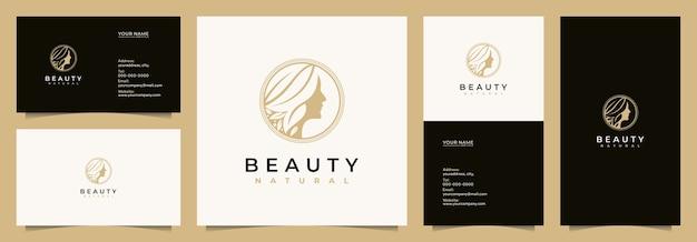 Inspiração de design de logotipo de mulheres de beleza para cuidados com a pele, salões de beleza e spa, com cartões de visita, cartões de visita,