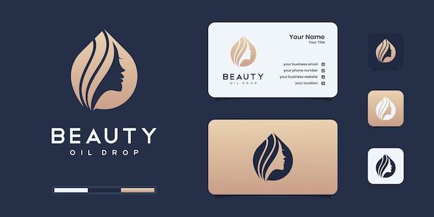 Inspiração de design de logotipo de mulheres de beleza para cuidados com a pele, salões de beleza e spa, com o conceito de água com óleo.