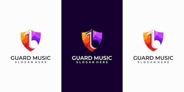 Inspiração de design de logotipo de música de guarda.