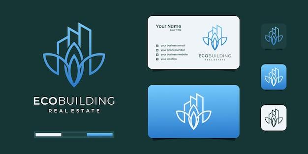 Inspiração de design de logotipo de natureza de edifício elegante.