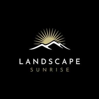 Inspiração de design de logotipo de paisagem de montanha minimalista