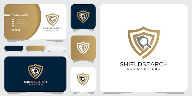Inspiração de design de logotipo de pesquisa de escudo. design do logotipo do escudo. design de logotipo de pesquisa