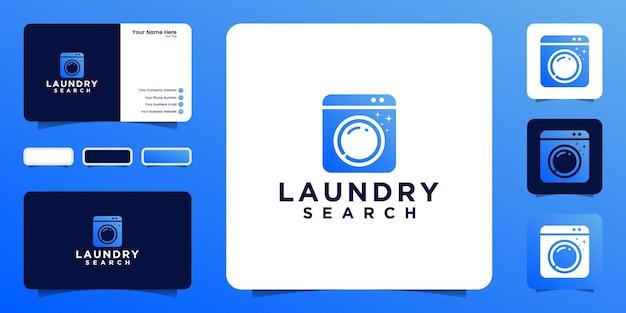 Inspiração de design de logotipo de pesquisa de lavanderia e design de cartão de visita